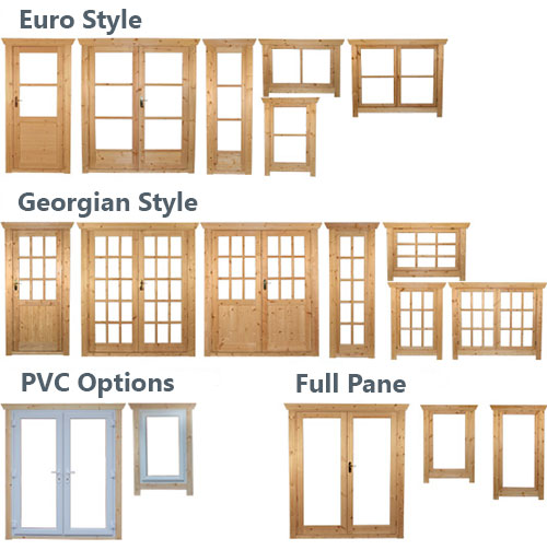 Log cabin windows and doors styles